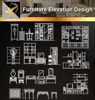 ★【Furniture Elevation Design】@Autocad Blocks,Drawings,CAD Details,Elevation