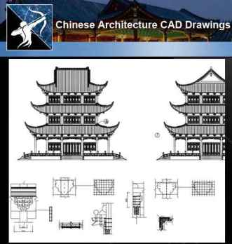 ★【Chinese Architecture CAD Drawings】@Chinese Temple Drawings,CAD Details,Elevation V.2